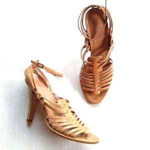 DKNY strappy caged tan leather heeled sandals